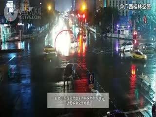 桂林中山中路,上演交警追捕酒驾者惊险大片!